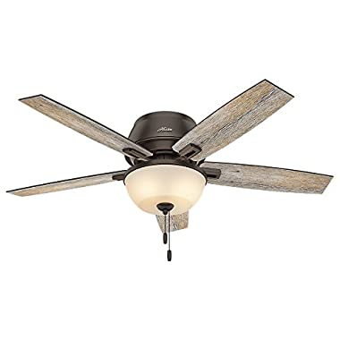 Hunter 53342 Casual Donegan Onyx Bengal Ceiling Fan With Light, 52