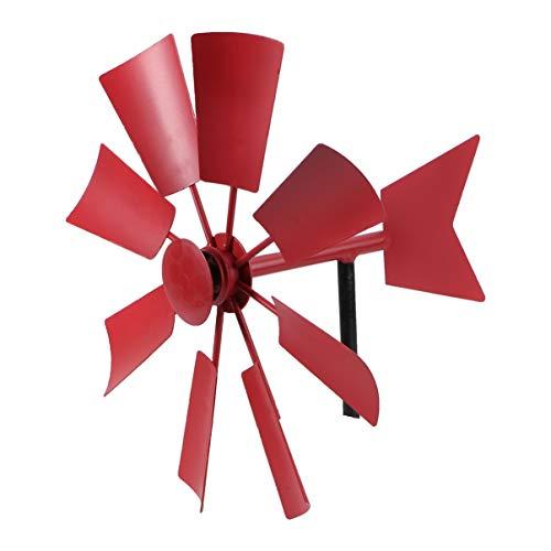Hemoton Windmühle Metall Garten Windrad Gartenstecker Windspiel mit Windanzeiger Dunkelrot Eisen Kunst Garten Rasen Hinterhof Park Kindergarten Party Im Freien Dekoration