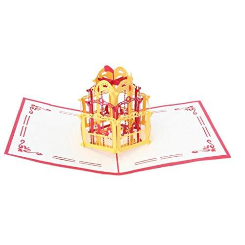 1pc 3d-pop-up-grußkarte Handgemachte Karussell Blank-segen-karte Origami-geburtstags-karte Folding Mitteilungs-karte Für Hochzeitstag Thanksgiving Day