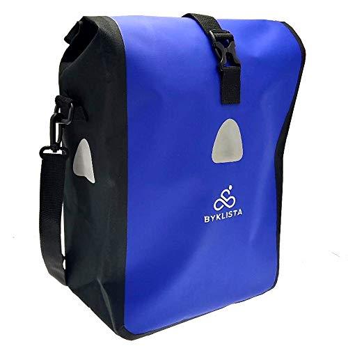 BYKLISTA® Fahrradtasche Gepäckträger Tasche + Gratis eBook – hochwertige Gepäckträgertasche Fahrrad Tasche Radtasche – Fahrradtasche Wasserdicht mit Reflektoren & Schultergurt in Blau, 16 L