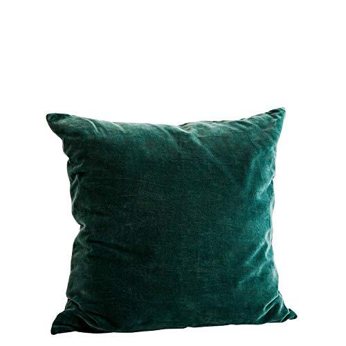 Madam Stoltz Almohada de Terciopelo en Color Verde de algodón Puro, tamaño: 50x 50cm