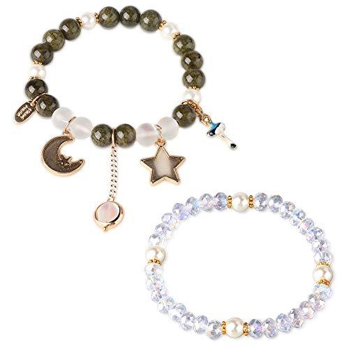 Besteel Natural Gemstone Bead Bracelet Star Moon for Women Girls Wedding...