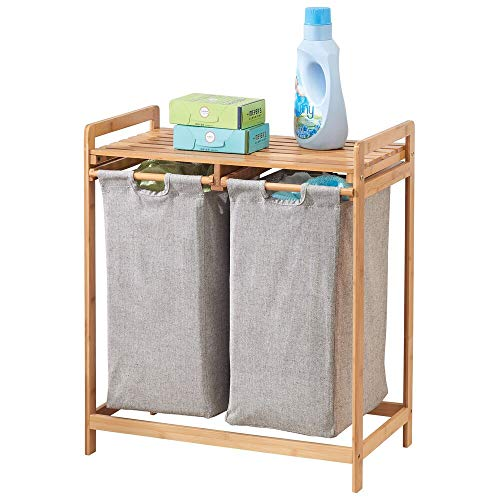 mDesign Bamboo Wood Double Laundry Hamper - Storage System with Top Shelf to Organize Detergent, Liquid Fabric Softener, Bleach, Dryer Sheets, Stain Removers - Large Capacity - Natural Finish