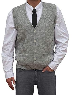 TINKUY PERU - Peruvian Alpaca Wool - Men´s Knitwear V-Neck Jacquard Vest Sweater Waistcoat - Heather Grey (X-Large) by