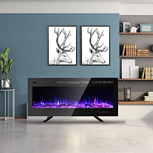 102cm Electric Fireplace Low Noise Recessed Wall Mounted and Freestanding, Adjustable Flame Colors, Remote Control with Timer Touch Screen, 900W/1800W