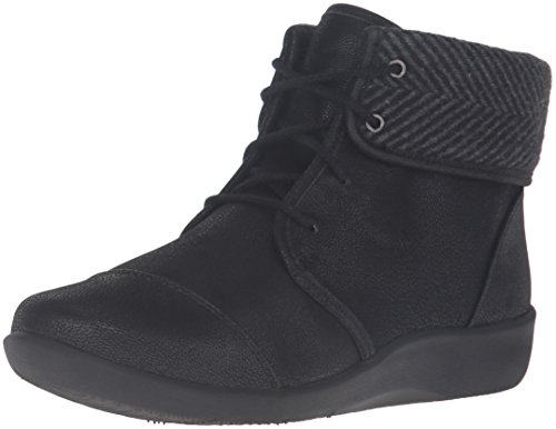 CLARKS Women's Sillian Frey Boot, Black Synthetic Nubuck, 9.5 M US