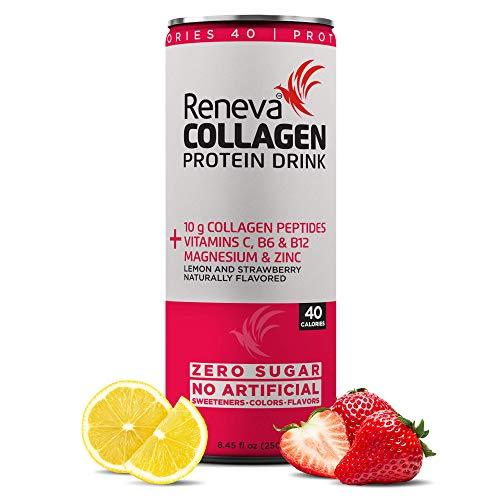 Reneva Collagen Protein Drink | Zero Sugar - Zero Carb, Vitamins & Minerals, Collagen Peptides 12x250ml Pack (Lemon & Strawberry)
