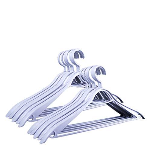 HOMEsolution - Grucce appendibito (Bianco, 36 Pezzi) 6145 Confort, Appendiabiti ergonomico in plastica, Speciale Design Effetto Legno, 44 cm.