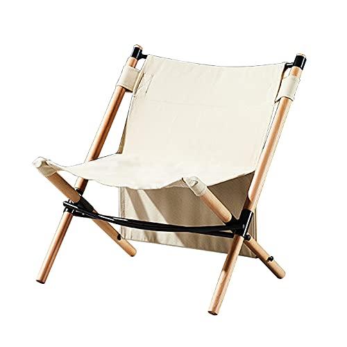 Silla plegable de madera maciza Silla de lona portátil para acampar al...