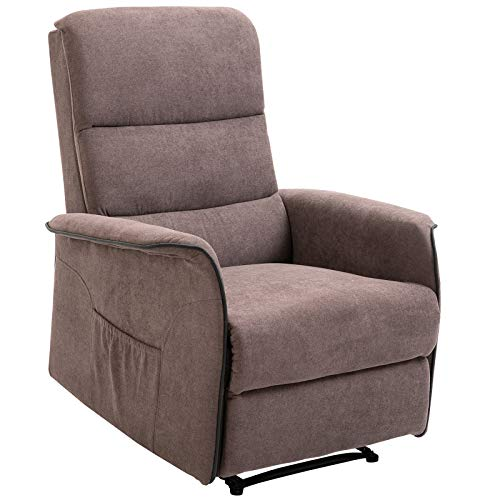 Homcom Fauteuil de Relaxation Grand Confort Dossier inclinable Repose-Pied Ajustable Flanelle Marron