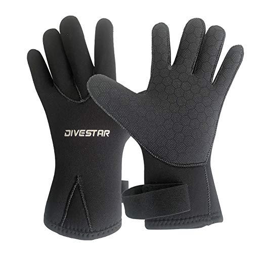 Yaobuyao Guantes de neopreno – 3 mm/5 mm cálidos guantes de buceo – Guantes de buceo de cinco dedos para adultos, para surf, kayak, buceo, deportes acuáticos, 5 mm, S
