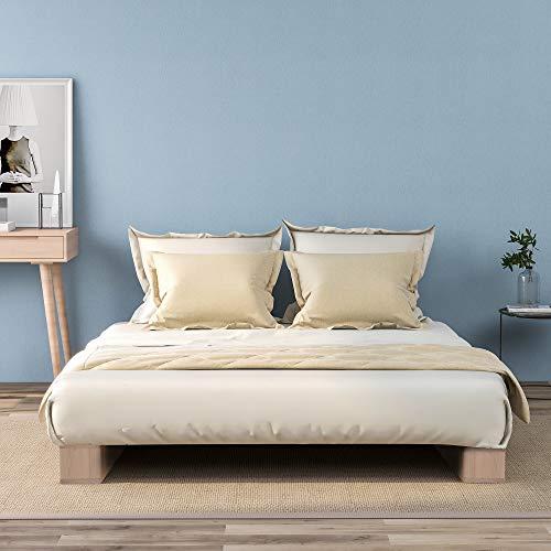 Cadre de lit 90 * 200cm Lit Simple Plate-Forme De Plate-Forme en Bois pour Adultes Enfants Adolescents avec Un Support De Latte Fort - Bois Naturel