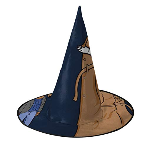 NUJSHF Trench Coat Bojack Sombrero de Bruja para Halloween, Unisex, Disfraz para Vacaciones, Halloween, Navidad, Carnaval, Fiesta