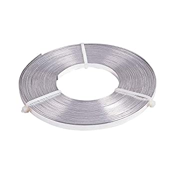 BENECREAT 32 Feet 5mm Wide Flat Jewelry Craft Wire 18 Gauge Aluminum Wire for Bezel Sculpting Armature Jewelry Making - Silver Color