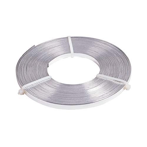 BENECREAT 10m Filo Piatto di Alluminio 5mm di Larghezza Accessori per Gioielli in Metallo Argento per Artigianato Artigianale