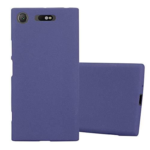 Cadorabo Funda para Sony Xperia XZ1 en Frost Azul Oscuro - Cubierta Proteccíon de Silicona TPU Delgada e Flexible con Antichoque - Gel Case Cover Carcasa Ligera