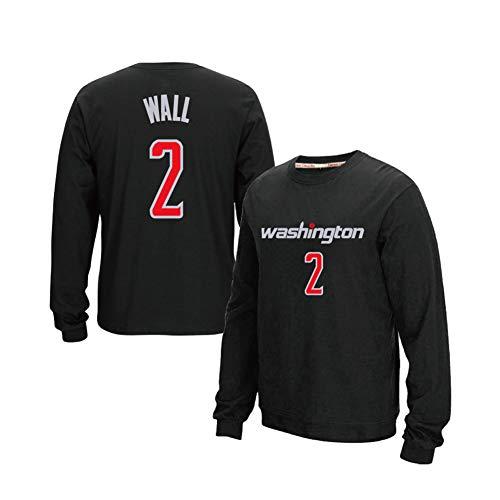 DADD camiseta de baloncesto de manga larga para hombre y mujer Washington Wizards #2 John Wall, para deportes ocio y ocio cuello redondo suéter