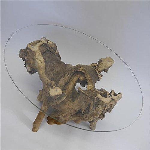 GTK - Gewei & Trofee kroomhout exclusieve handgemaakte wortelhouten tafel wortelhout tafel met glasplaat ovaal 95 x 70 cm