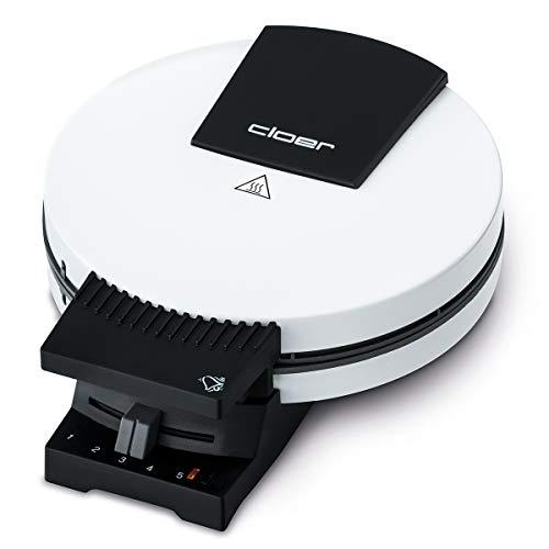 Cloer 181 wafelmachine voor cakeachtige wafels / 930 W/wafelgrootte 16 cm/zware bakplaten/optische en akoestische klaarmelding/wit