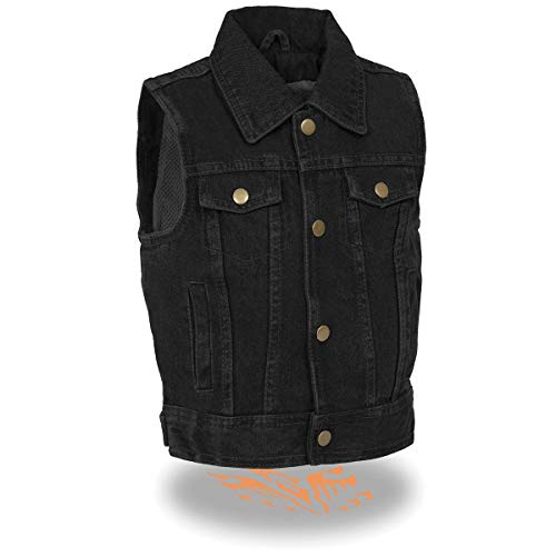 Milwaukee Leather MDK3910 Kids Black Denim Vest with Shirt Style Collar - Large