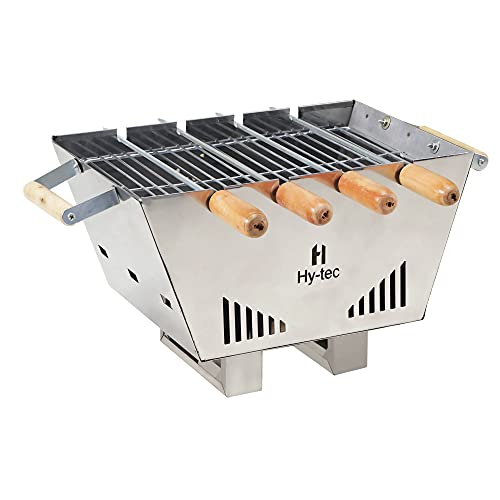 H Hy-tec (Device) HYBB - Tabletop Charcoal Grill Barbecue with 4 Skewers (Stainless Steel Body)