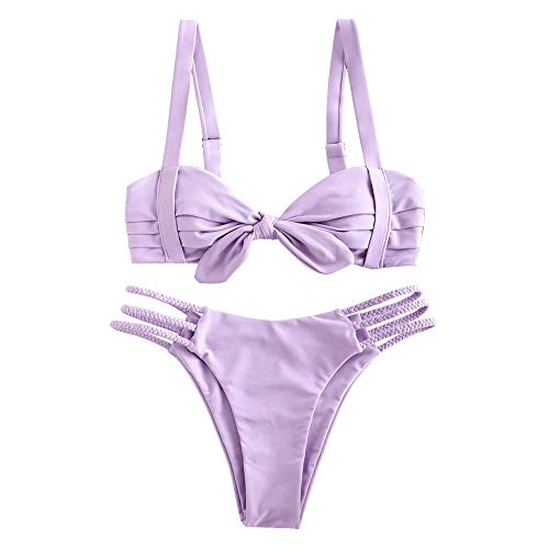 ZAFUL Women's Wide Strap Tie Knot Braided Floral Bikini Set Two Piece Swimsuit (B-Lavender Blue, M)