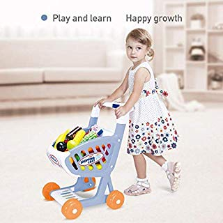 Beebeerun Kids Shopping Cart with Music-Supermarket Playset with Grocery Cart Toy and Pretend Food Accessories – Pretended Toy Gift for Kids, Children, Toddlers