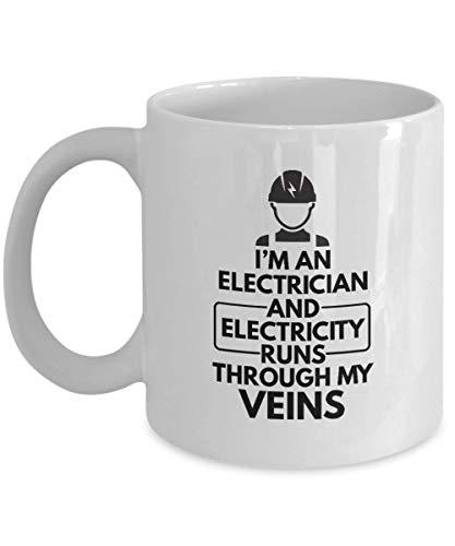N\A Regalos para electricistas: Soy Electricista y la Electricidad Corre por mis Venas Electricista, técnico eléctrico, Trabajo de instalador de líneas, Taza Blanca, Taza de café de cerámica