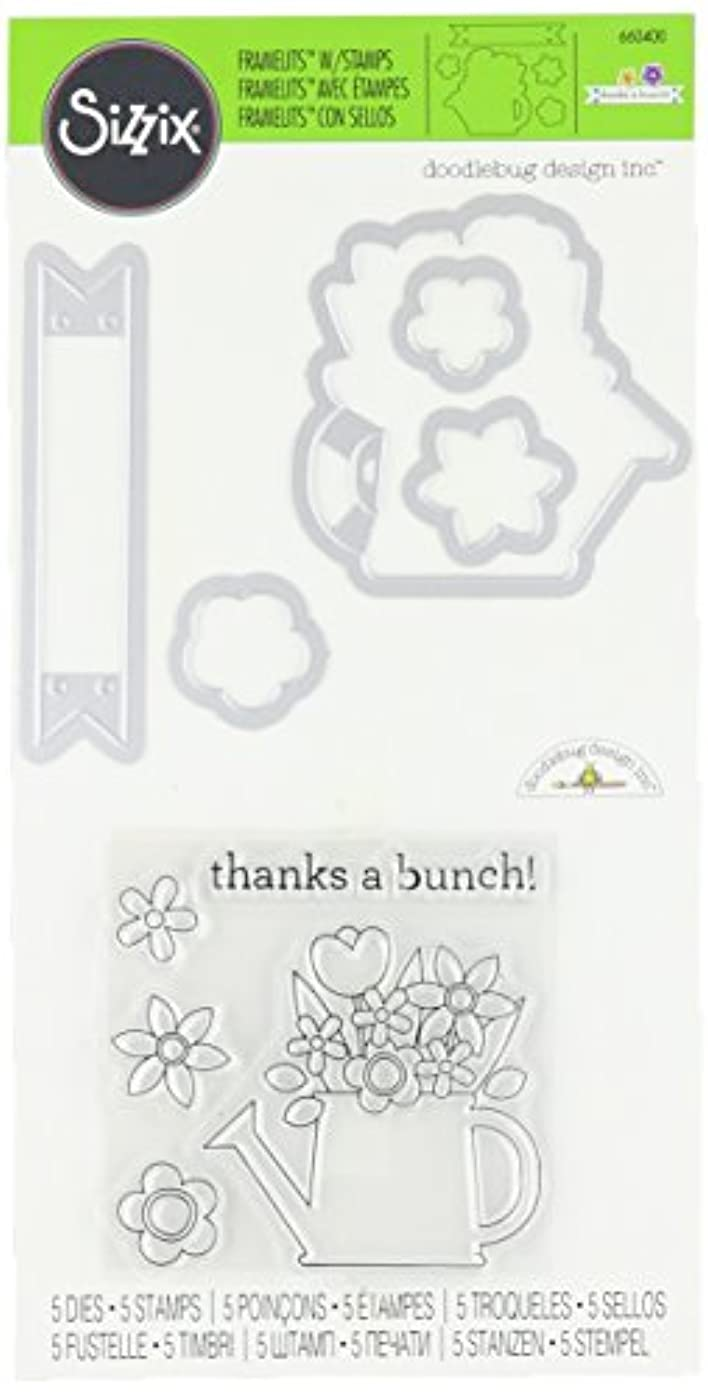 Sizzix 660400 Framelits Die Set with Stamps Thanks a Bunch by Doodlebug Design (5 Pack)