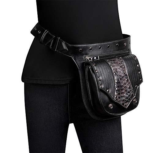Bolsillos para Correr Fitness Steampunk Bags Hombro Paquetes de Fanny Paquetes de Cintura Bolsas para Mujer Bolso de Brazo de Pierna Multifuncional (Color : Black, Size : One Size)