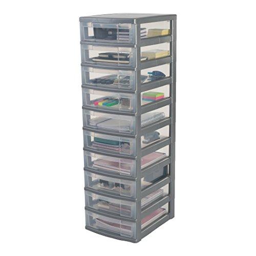 Iris Ohyama, Schubladenschrank auf Rollen / Rollcontainer - New Chest NMC-010 - plastik, silber, 10 x 6 L, L30 x B38 x H102 cm