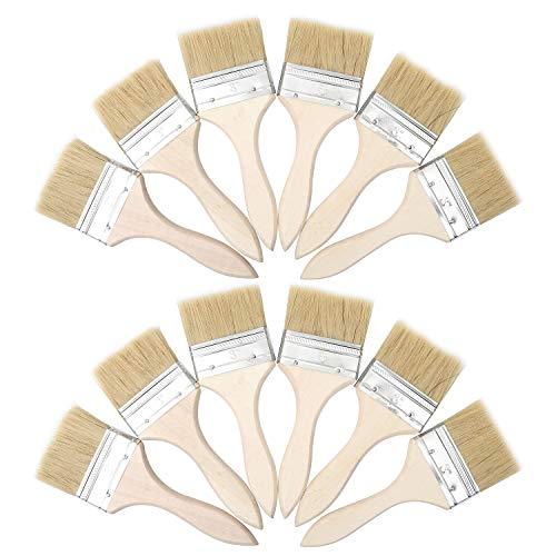"""Farbpinsel (12er Set) -Acrylpinsel Set Pinsel zum Streichen und Lackieren Größe 7,6cm (3\"""") - Ideal für Wand- und Holz Farbe zum Beizen, für Leim und Gesso-Grundierungen - Pinsel zum Malen"""