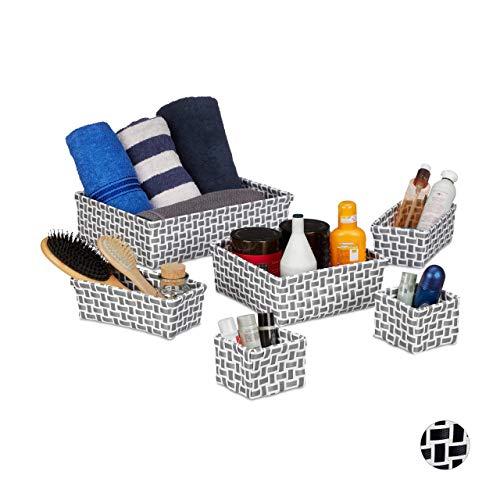 Relaxdays Aufbewahrungskorb 6er Set, Flechtoptik, Deko Körbchen, ineinander stapelbar, Korbset, Kunststoff, weiß/grau