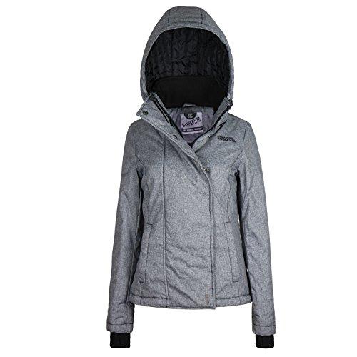 Sublevel Damen Winterjacke mit abnehmbarer Kapuze & Daumenloch | Gut gefütterte Jacke im Sportlichen Look dark-grey M