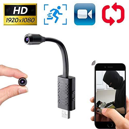 GT-LYD Camara vigilancia Bebe,Mini cámara USB portátil WiFi Cubierta móvil Monitor Remoto, 160 ° de ángulo Ancho, la grabación en Bucle,64g