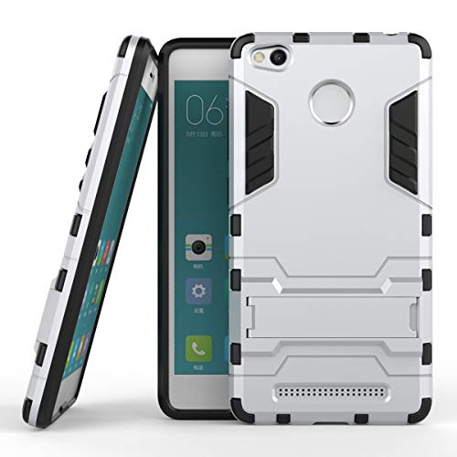 Yhuisen 2 in 1 Iron Armor Tough Style Hybrid Dual Layer Armor Defender PC + TPU beschermende harde behuizing met standaard [Shockproof Case] ​​voor Xiaomi redmi 3S / redmi 3 Pro (Color : Silver)