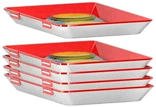 ZHYX 5 bandejas creativas de conservación de alimentos, almacenamiento fresco al vacío, con película elástica y hebilla, juego de utensilios de cocina