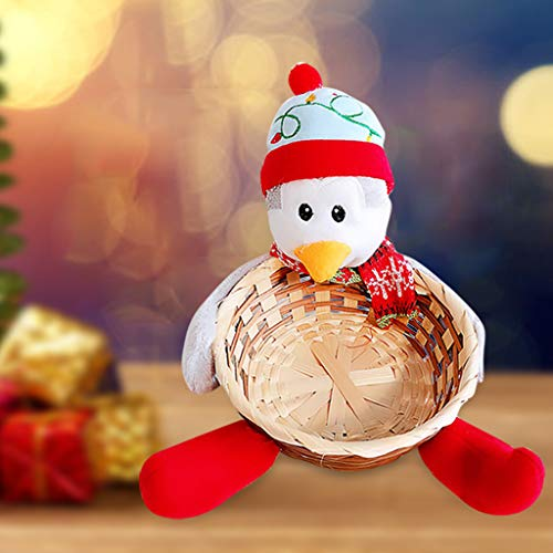 vijTIAN Christmas Candy Basket Storage Bowl Large Size Santa Claus Snowman Deer Design Candy Desert Bamboo Storage Jar Holders Ornaments Gifts Decorations Home Festival Xmas Decor