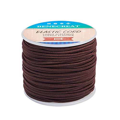 BENECREAT 50m Filo Elastico in Nylon Filato per Perline Tessuto Filato per Perline Capelli e mestiere (2 mm, caffè)