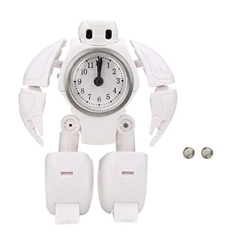 Santing Reloj Despertador Digital, Reloj de Material ABS Seguro y Respetuoso con el Medio Ambiente para niños, Viaje de niñas para el hogar del bebé(White)