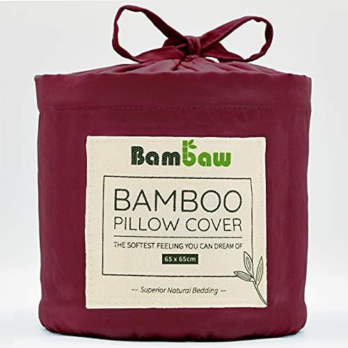 Bambaw Fundas de Almohada de Bambú   Tacto Suave y Fino   2 x Funda Almohada   Fundas Almohada Antiácaros   Tejido Transpirable   Pillow Case   Borgoña - 65x65   Fundas de Cojín