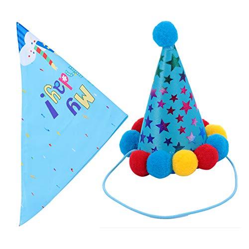 PRETYZOOM 2 unidades fiesta de cumpleaños Sombrero de perro y bandana Navidad gato mascotas bufanda triangulares mascotas babero babero toalla cuello fiesta fiesta cumpleaños Navidad