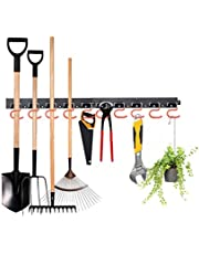 FIAMER Zware verstelbare opslag systeem 48 inch, garage opslag, tuin gereedschap houder, tuin tool organizer, muur mount tool organizer, garage organizer (oranje)