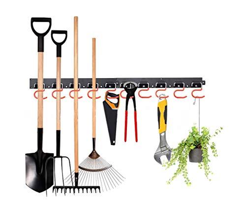 FIAMER Schweres, verstellbares Aufbewahrungssystem, 122 cm, Garagenaufbewahrung, Gartengeräte-Halter, Gartenwerkzeug-Organizer, Wandhalterung, Werkzeug-Organizer, Garage Organizer