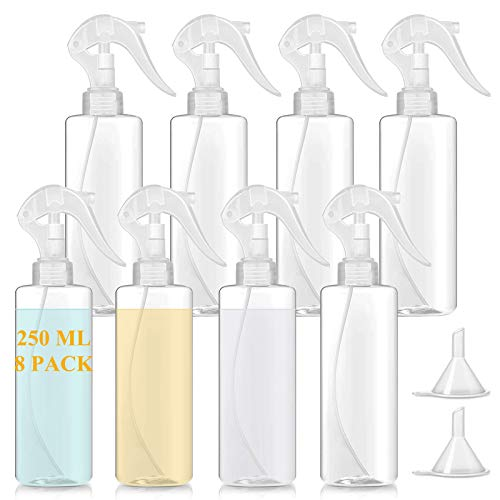 Plastic Empty Spray Bottles 8 oz(8Pack) Clear Hair Mister Spray Bottles Leak Proof Plant Water Spray Bottle Trigger Squirt Bottles for Cleaning Solutions,Essential Oils,Gardening with 2 Funnels