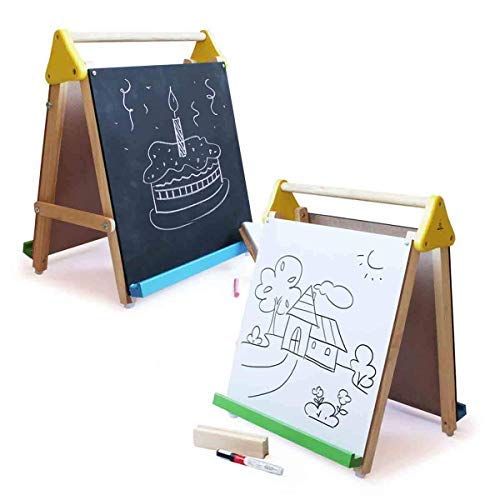 Shumee Wooden 3-in-1 Double Sided Table Top Easel(2 Years+) – Black Board, White Board, 25 Big White Sheets to Write, Draw & Paint