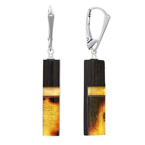 ANDANTE Premium Collection – Master of Zen – Pendientes de ámbar natural del mar Báltico, oro puro de 23 quilates, plata de ley 925 y roble negro, certificado Atena, oro del mar
