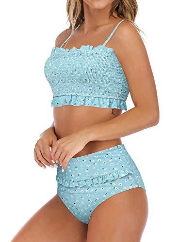 MOSHENGQI Women's Bandeau Ruffled Bikini Set Off Shoulder Smocked Swimsuit Bathing Suit(S(US Size 4-6),Blue-Floral)