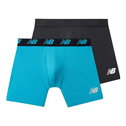 New Balance Mens Premium Performance 6' Boxer Brief Underwear (Pack of 2), Black/Cadet, Large (36-38')