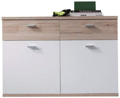 trendteam smart living Garderobe Schuhschrank hängend Schrank Campus, 90 x 63 x 38 cm in Eiche San Remo (Nb.) und Weiß mit viel Stauram